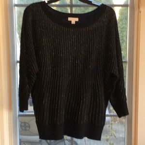 Sparkly Metallic Knit Ribbed Pullover Sweater